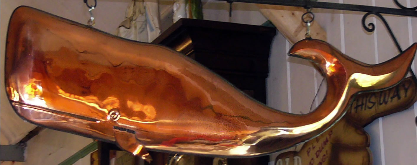 hanging copper whale